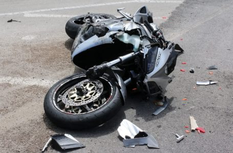 Argolida Greece – May 15 2016: traffic accident between a car and a motorcycle large displacement on country roads