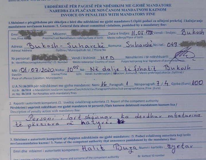 Suharekë – Denohet me 100€ gjobë pasi hodhi mbeturinat në natyrë