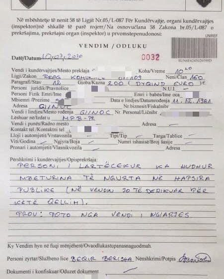 Edhe një qytetar nga Gjinoci denohet 200€