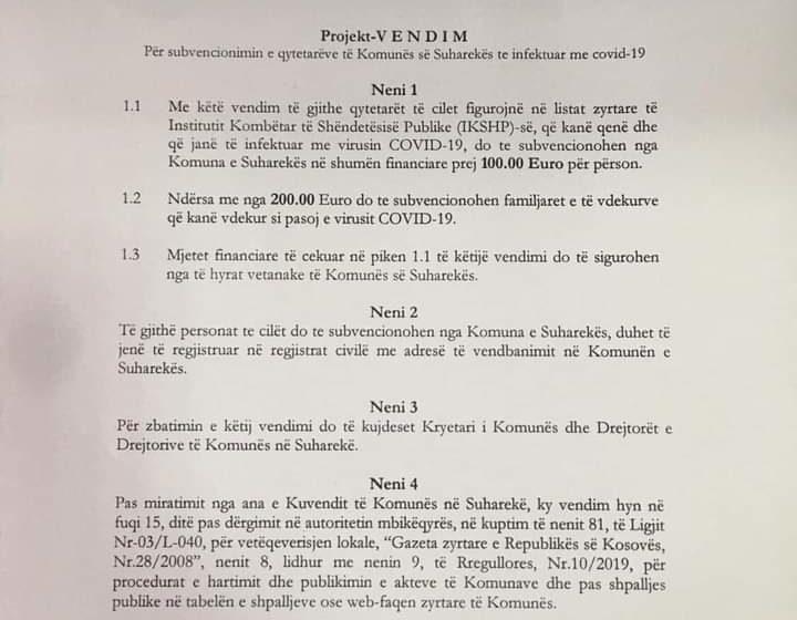 Me iniciativ të PDK-Suharekë, Qytetarët e infektuar me COVID-19 do t'i marrin nga 100 euro