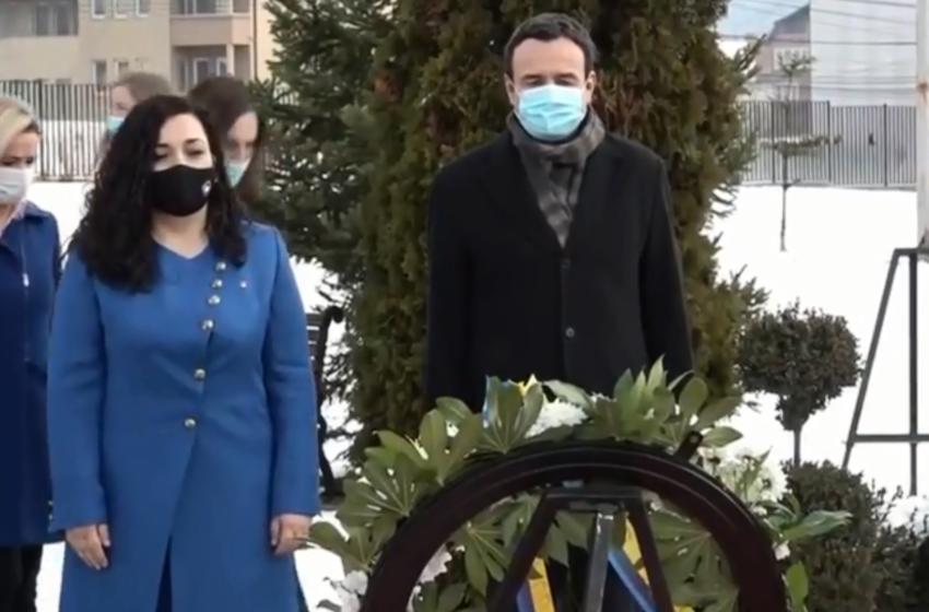 Kurti dhe Osmani bëjnë homazhe te varri i Rugovës për Pavarësi