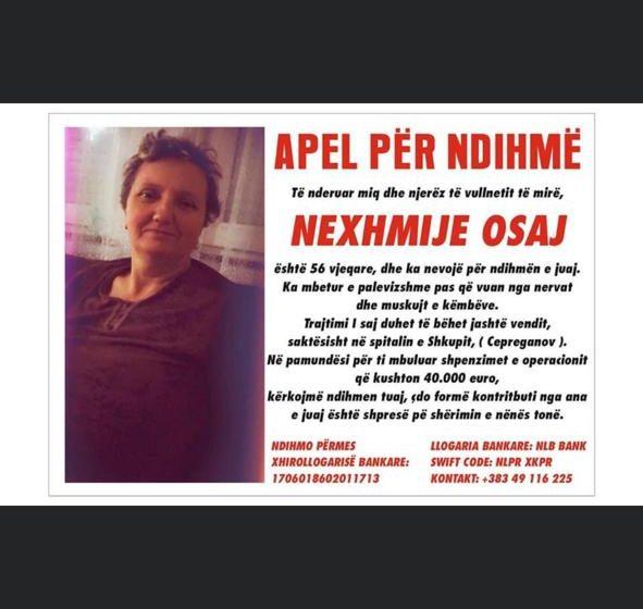 Kërkohet ndihmë financiare për Nexhmije Osaj nga Deçani